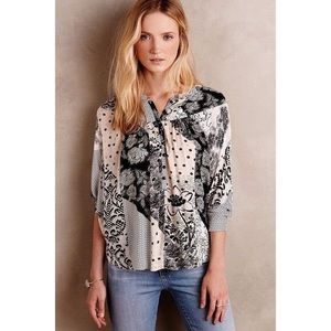 Maeve Floral Patch Work Button Down Blouse